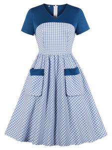Blue Plaid Short Sleeve 50s Pockets Dress
