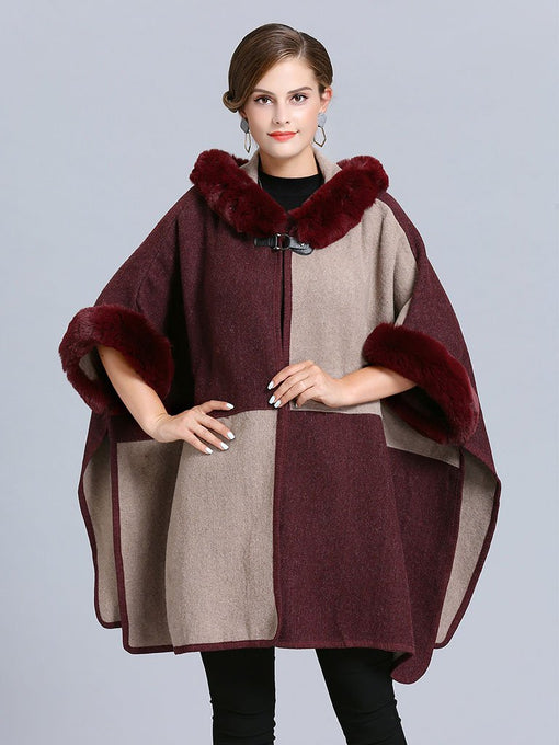 Women's Poncho Cape Faux Fur Hooded Plaid Cape Coat