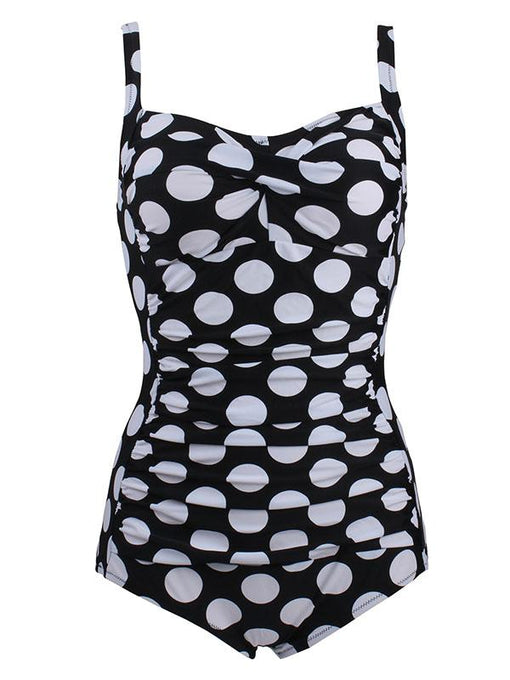 One Piece Cross Front Design Big Dots Black Background Swimsuit