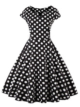 Load image into Gallery viewer, Black 50s Retro Style V Neck Dots Dress