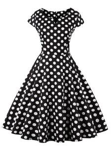 Black 50s Retro Style V Neck Dots Dress