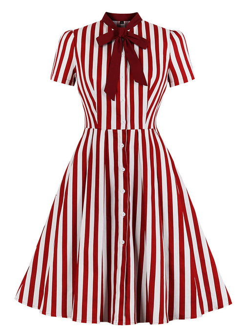 Christmas Red Stripe With Pockets 50S Dress