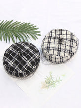 Load image into Gallery viewer, Black White Plaid Worsted Beret Hat Cap With Veil