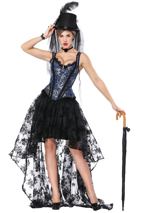 Halloween Costume Gothic Red Vintage Corset Top High Low Skirt For Women