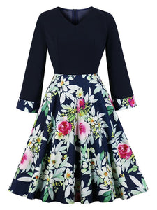 Black Floral Long Sleeve V Neck 50s Dress