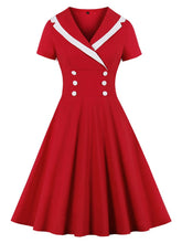 Load image into Gallery viewer, Christmas Red Sailor Dress Rockabilly Swing Cocktail Party Dress
