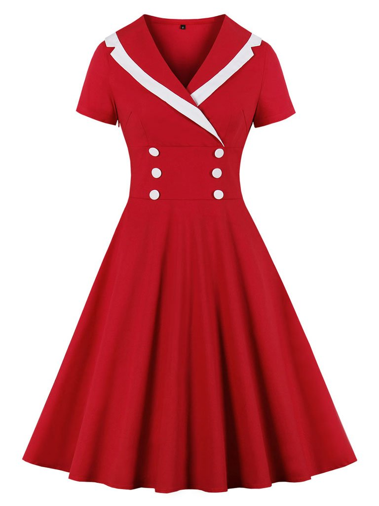 Christmas Red Sailor Dress Rockabilly Swing Cocktail Party Dress