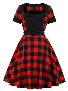 Printed plaid Turn-down Collar Vintage Dress