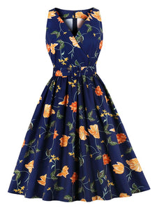 V Neck Printed Sweet 50S Vintage Dress With Belt