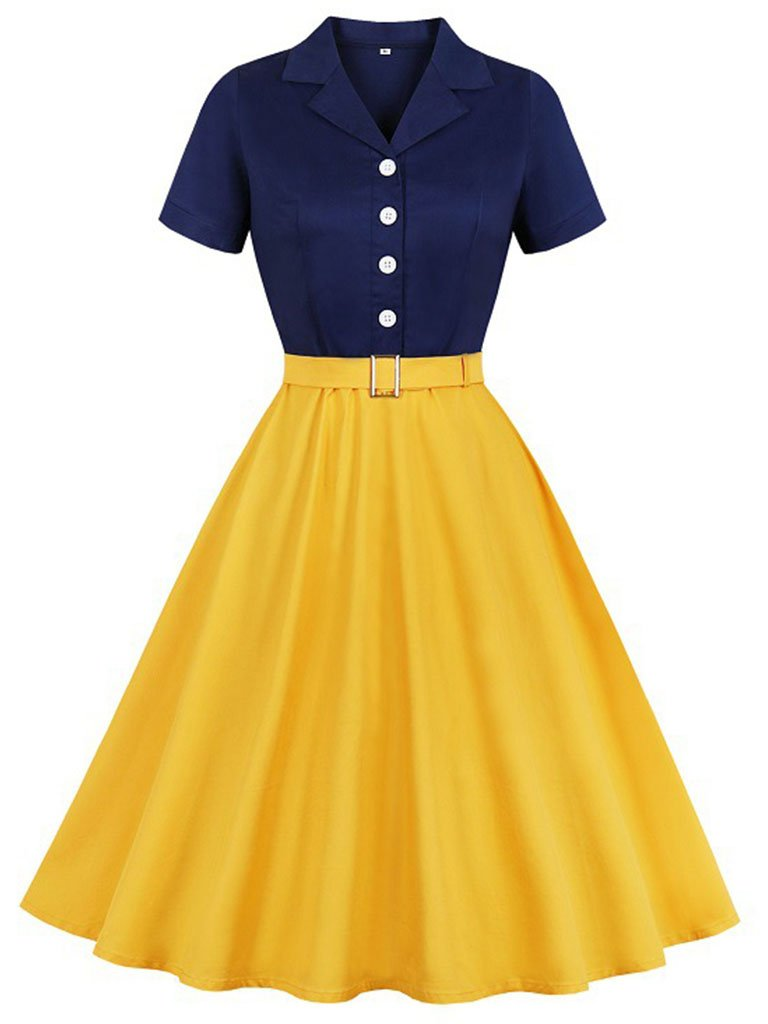 Cotton Tailored Collar 50s Autumn Dress