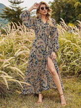 Load image into Gallery viewer, Women's Floral Boho Dress Long Sleeve Split Skirt Beach Party Dress