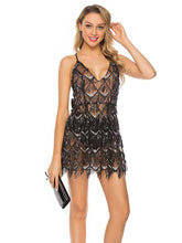 Load image into Gallery viewer, Black Lace Deep V Sequin Back Cross Bow Mini Dress