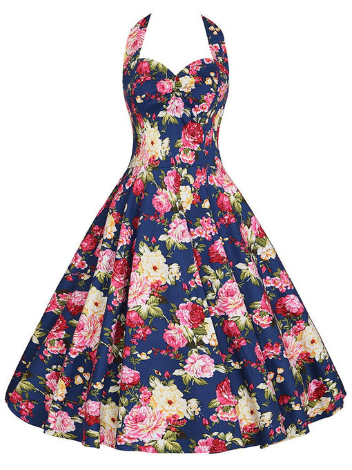 Sweet Floral Cotton 50s Flapper Dress