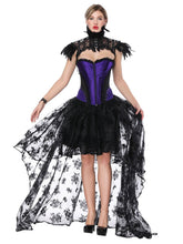 Load image into Gallery viewer, Gothic Costume Halloween Purple Strapless Asymmetrical Skirt And Corset