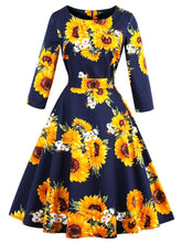 Load image into Gallery viewer, Flower Pirnted Long Sleeve Vintage Dress
