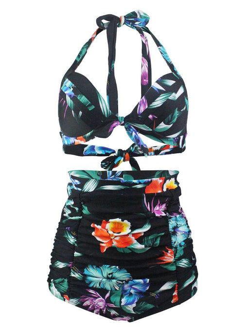 Black Floral 3D Print Halter Retro Style Bikinis swimsuits