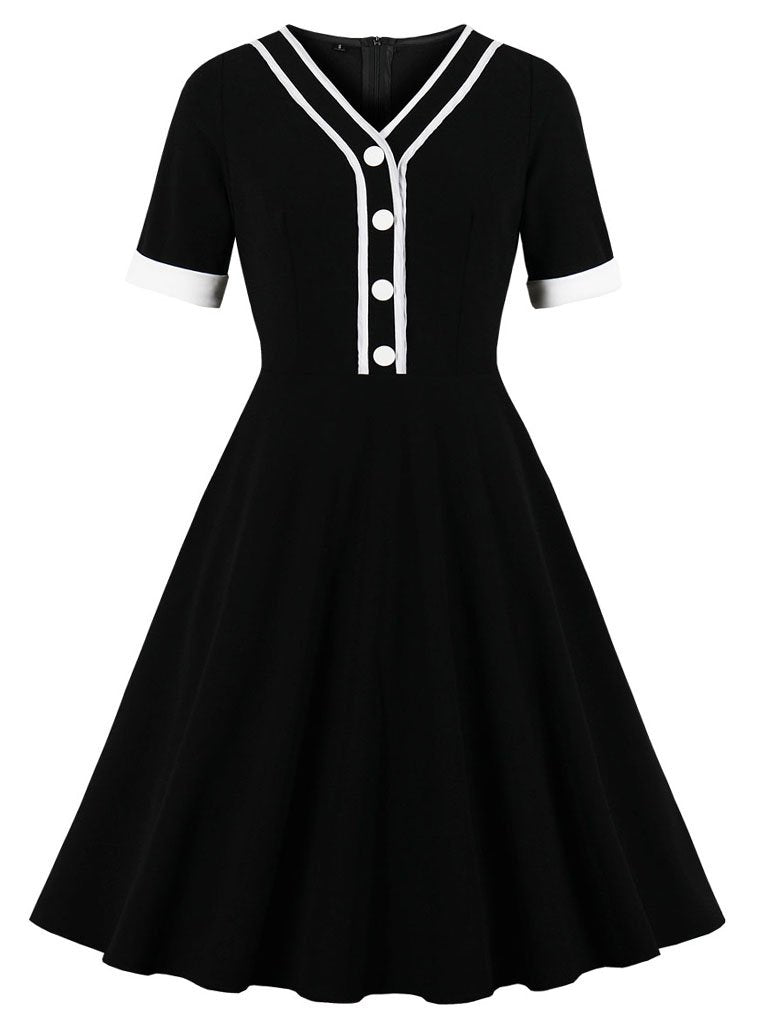 Black Short Sleeve V Neck 50s Dress