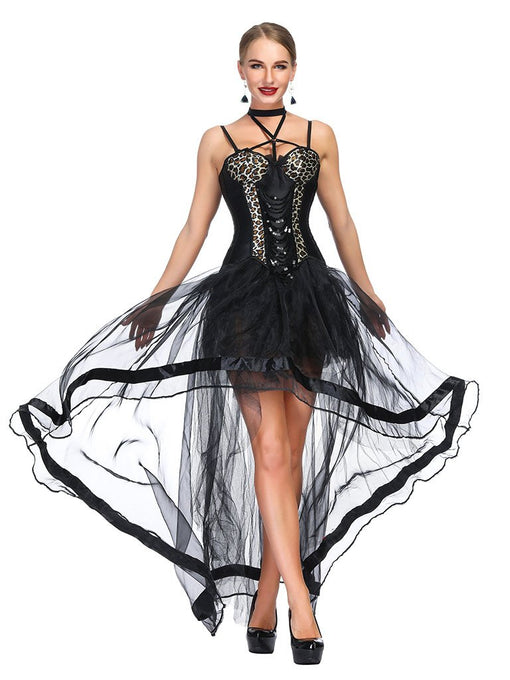 Gothic Costume Halloween Leopard Strapless Asymmetrical Skirt And Corset