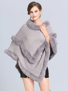 Women Coat Cape Peacoat Faux Fur Collar Poncho