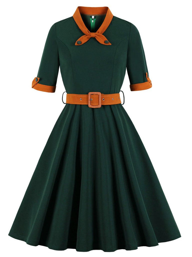 Dark Green Swing Vintage 1950S Dress