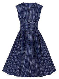 The Waist Small Polka Dot V Neck 50s Dress