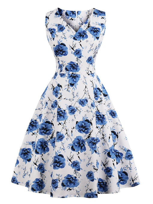 Blue 1950s Print Swing Dress