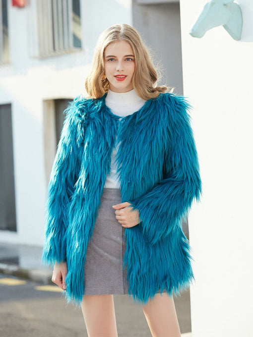 Faux Fur Coat Women Long Sleeve Oversized Winter Coat