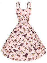 Load image into Gallery viewer, Sweet Birds Printed Cotton 50s Flapper Dress