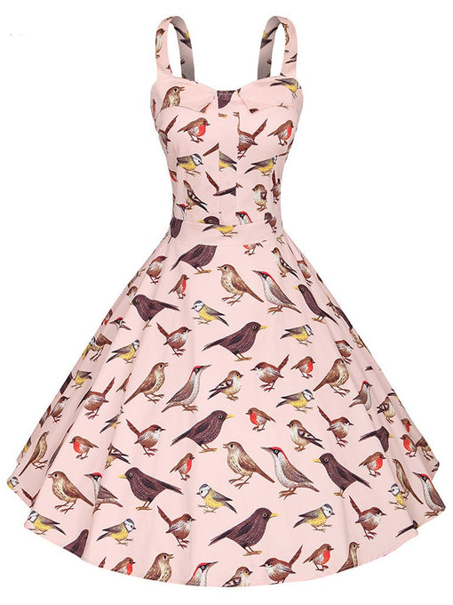 Sweet Birds Printed Cotton 50s Flapper Dress
