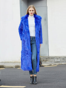 Faux Fur Coat Women V Neck Long Sleeve Maxi Winter Coat