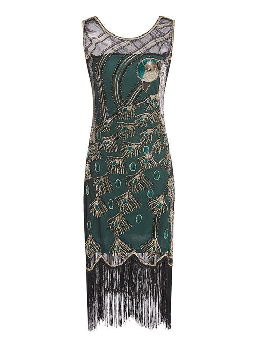 Green 1920s Peacock Sequined Flapper Dress