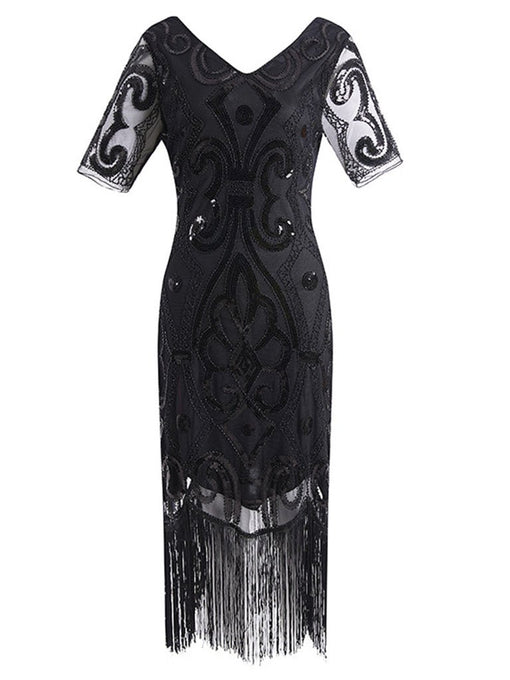 1920S Fringed Sequin Gatsby Dress