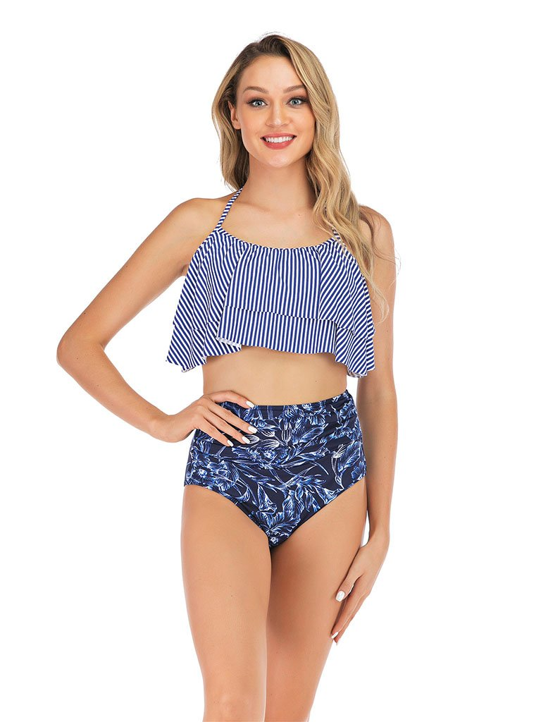 Retro Style High Waisted Sexy Backless Two Pieces Swimsuit Sets