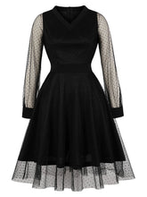 Load image into Gallery viewer, Black Semi Sheer 1950S V Neck Vintage Swing Dress