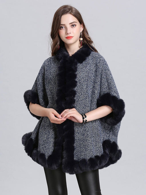 Faux Fur Coat Wool Cape Coat Half Sleeve Women Overcoat