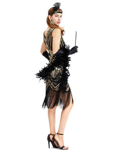 Black Silver 1920s V Neck Sequined Flapper Dres