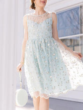 Load image into Gallery viewer, Sweet Lace Floral Sleeveless Crewneck Dress