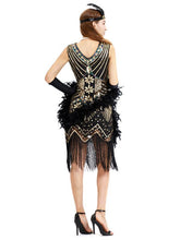 Load image into Gallery viewer, Black Silver 1920s V Neck Sequined Flapper Dres