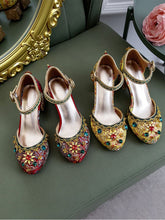 Load image into Gallery viewer, Luxurious Rhinestone Embroidery Floral Block Heel Ankle Strap Vintage Shoes