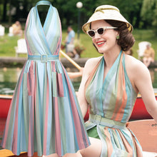 Load image into Gallery viewer, The Marvelous Mrs.Maisel Costume Dress Stripe Vintage Dress Set WIth Pockets
