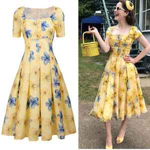 The Marvelous Mrs.Maisel Same Style Yellow Floral Dress With Lace Belt
