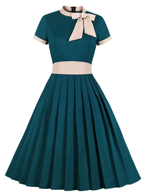 Bow Collar 1950S Cotton Dress With Pockets