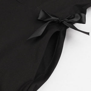 Black 1950S Bow V Neck A Line Vintage Dress