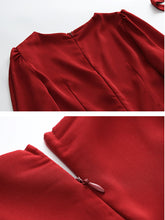 Load image into Gallery viewer, Vinatge Red Handmade Rose Puff Sleeve Swing Velvet Dress