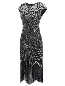 2 Colors 1920s Sequined Flapper Gatsby Dress