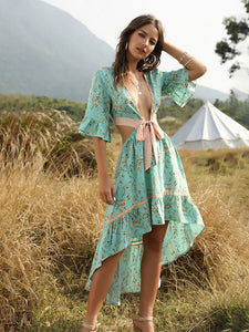 Boho Dress Deep V High Low Floral Printed Ruffles Maxi Dress For Women