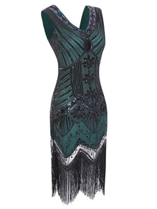 Dark Green 1920s Sequined Flapper Dress