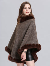 Load image into Gallery viewer, Women Woolen Poncho Faux Fur Shawl Collar Oversized Winter Coat