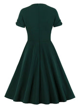 Load image into Gallery viewer, Dark Green V Neck Short Sleeve 50S Vintage Dress