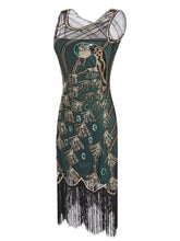 Load image into Gallery viewer, Green 1920s Peacock Sequined Flapper Dress